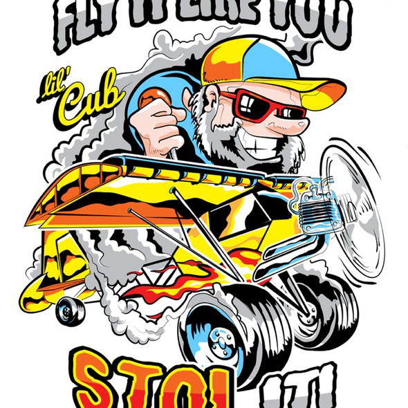 Cartoon t-shirt with the title 'T-shirt Design for an Airplane'