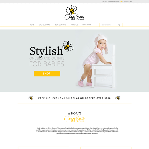 Clothing website with the title 'Baby Clothing store'