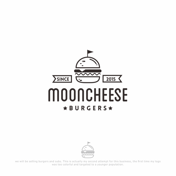 Burger logo with the title 'mooncheese'