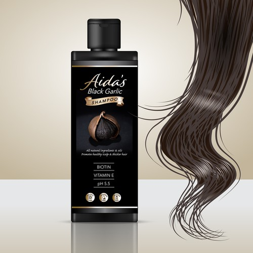 Garlic design with the title 'Label Entry for Black Garlic Shampoo'