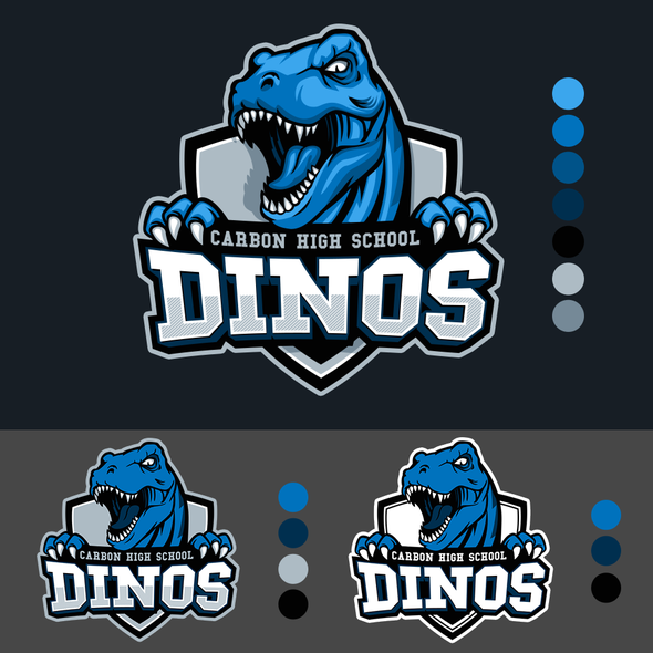Dinosaur logo with the title 'Strong and Fierce T-Rex  Mascot Logo Design'
