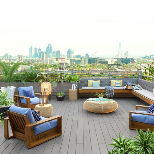 Deck design with the title '3D Apartment Balcony & Rooftop Visualisation'