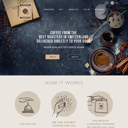 Coffee shop design with the title 'Webpage Design for coffee subscription company'