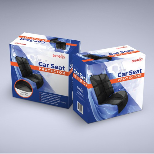 Car packaging with the title 'Car Seat Protector Packaging'