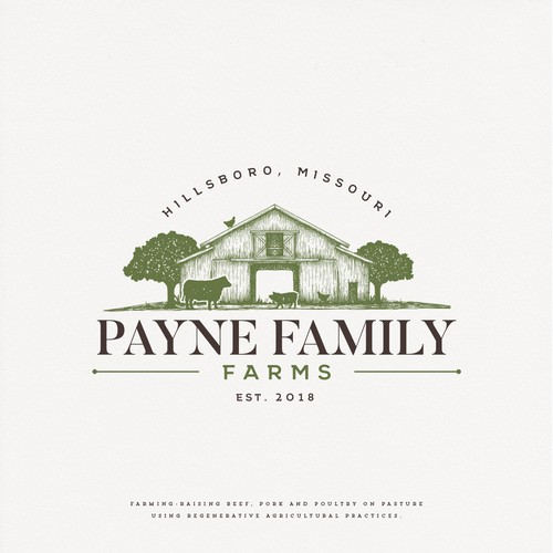 Barn logo with the title 'Payne Family Farms'