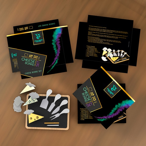 Cheese packaging with the title 'Product package for premium cheese board set'