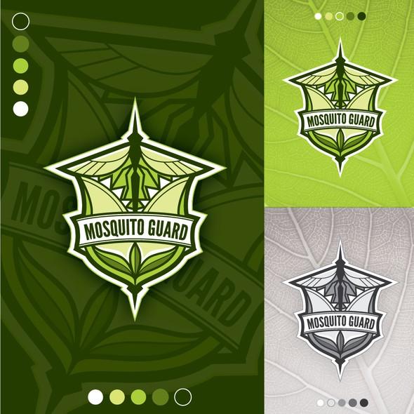 Mosquito logo with the title 'Logo concept for Musquito Guard (eco friendly mosquito control company)'