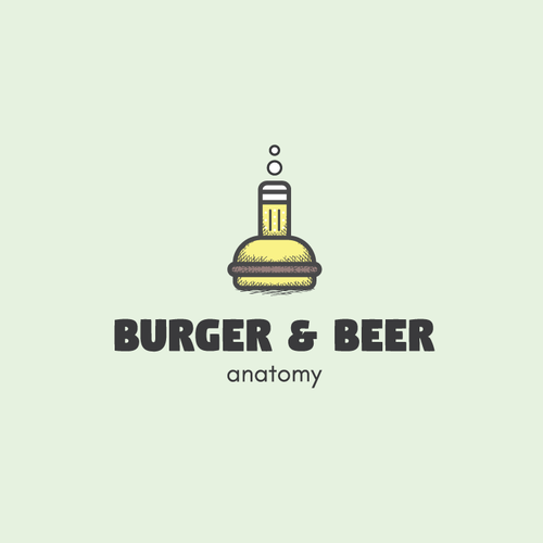 Flask design with the title 'Logo concept for Burger&Beer'