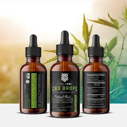 Hemp label with the title 'CBD Oil Label Design for Lively Owl'