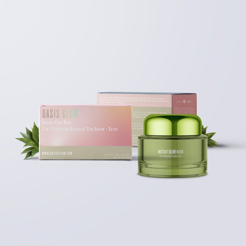 Holographic design with the title 'Gradient Concept for facial mask'