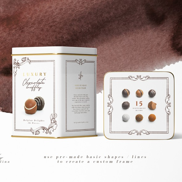 Tin packaging with the title 'Chocolate Pralines Package Design'