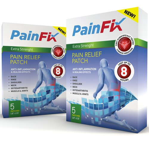 Carton packaging with the title 'Pain Fix Patch box'