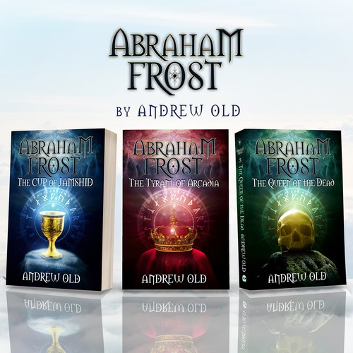 Collage design with the title 'Book cover Abraham Frost - The Cup of Jamshid'