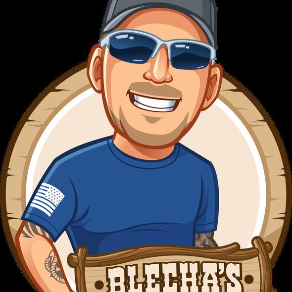 Cartoon logo with the title 'Blechas Custom Sign Logo Design'