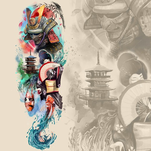 Theme design with the title 'Water color japanese theme tattoo'