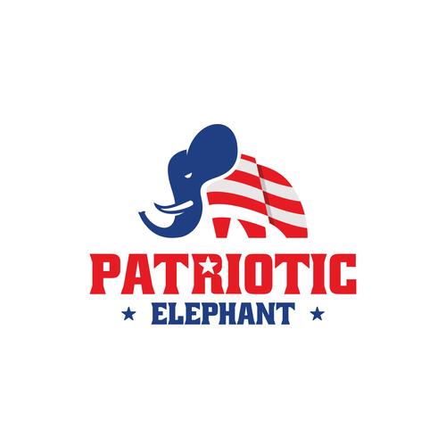 Patriot logo with the title 'Patriotic Elephant'