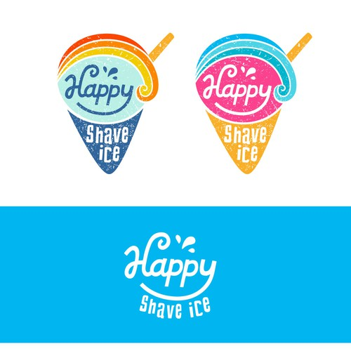 Funky design with the title 'Fun + happy logo for a shave ice brand'