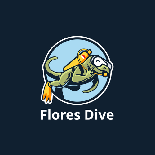 Scuba logo with the title 'Local Dive Shop in Komodo, Flores, Needs Your Awesome Design!'