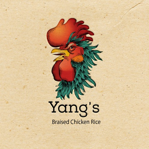 Feather logo with the title 'Hand drawn logo for a restaurant'