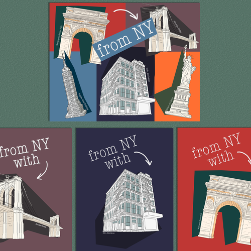 Monument design with the title 'New York City postcards'