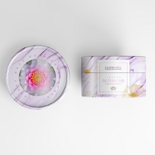 Bath bomb design with the title 'Bathbomb Luxury'