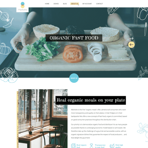 Organic website with the title 'A home page for an organic food market'