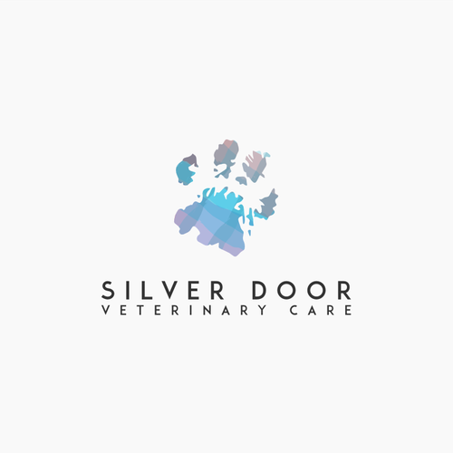 Veterinary logo with the title 'watercolor paw'