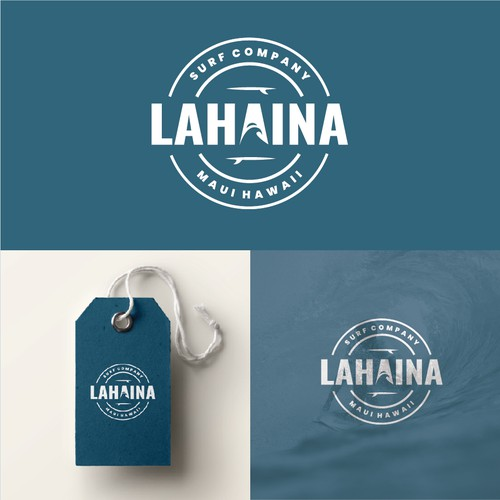 Surfboard logo with the title 'Lahaina logo'