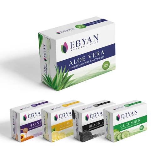 Soap packaging with the title 'Packagin Design | Ebyan Natural Soap'