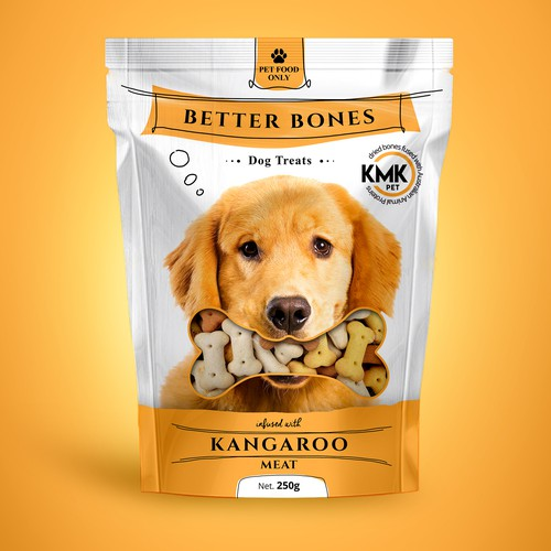 Yellow packaging with the title 'Pet treat package design'