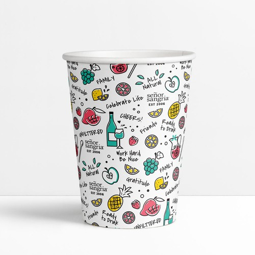 Organic artwork with the title 'Fun sangria drinking cup design'