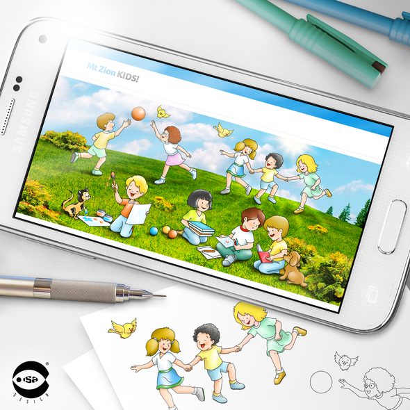 """Header design with the title '""""Mt Zion Kids"""" Homepage illustration'"""