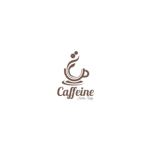 Steam logo with the title 'Caffeine Logo Design'