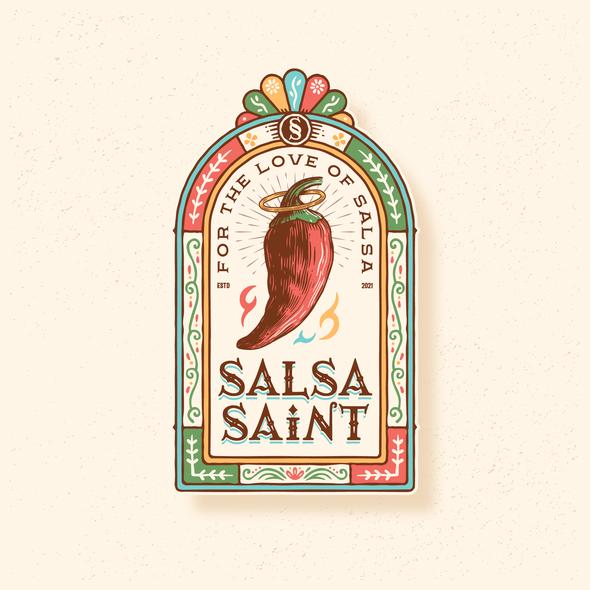 Salsa design with the title 'SALSA SAINT'