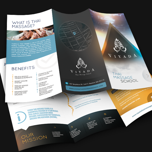 Photoshop design with the title 'Massage school brochure design'