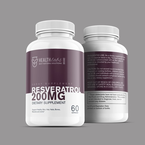 Dietary supplement label with the title 'Health Supplement Label Design'