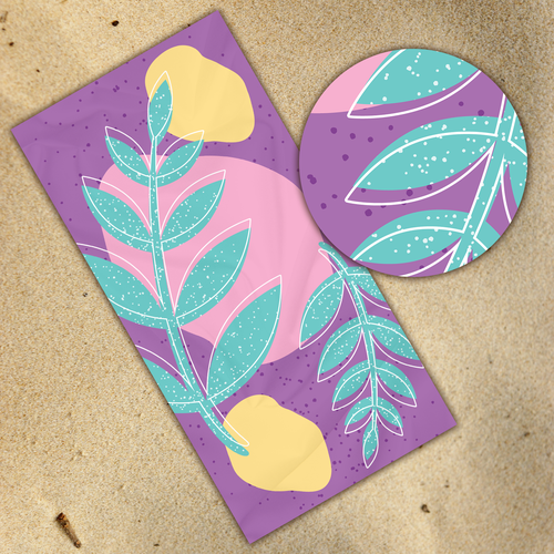 Beach illustration with the title 'Colorful Leafs and Figures Towel'