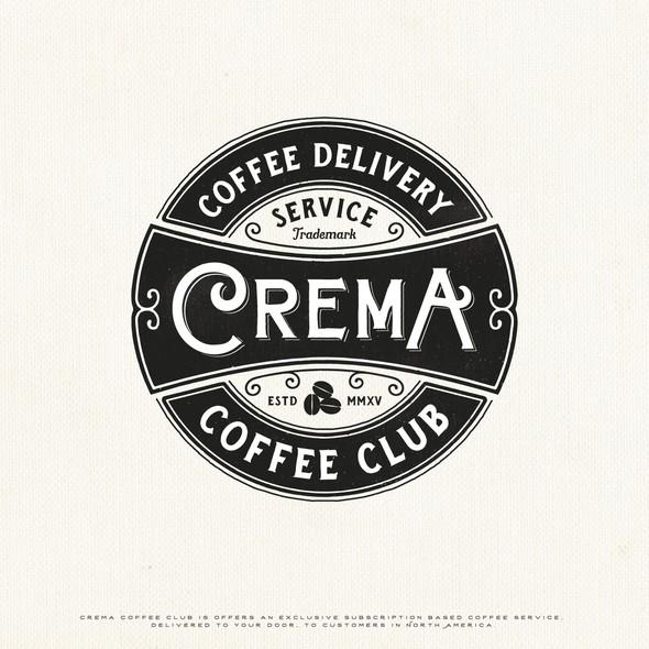 Coffee company logo with the title 'Crema Coffee Club'