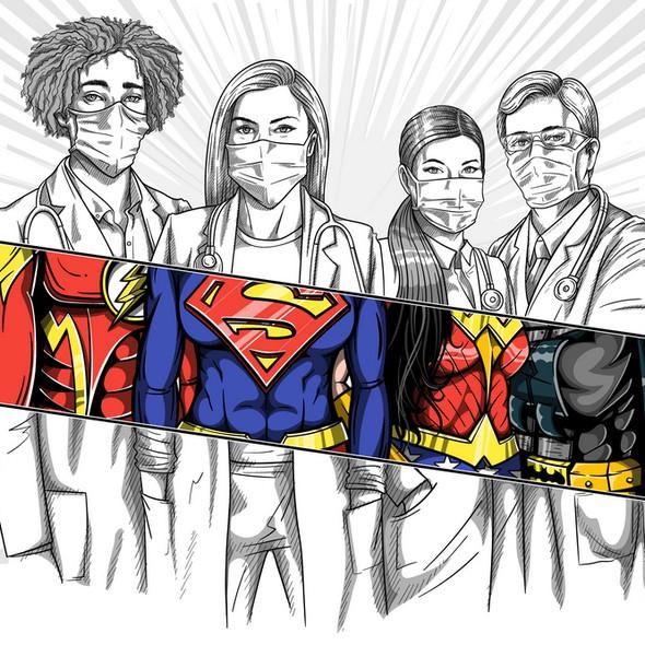 Batman design with the title 'Doctors Superheroes'