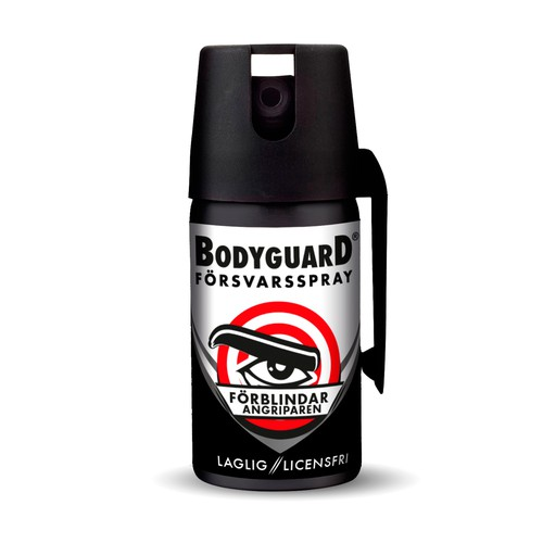 Swedish design with the title 'Bold label for self defense spray'