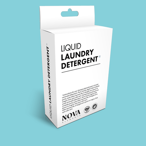 Detergent design with the title 'Liquid Laundry Detergent Packaging Design'