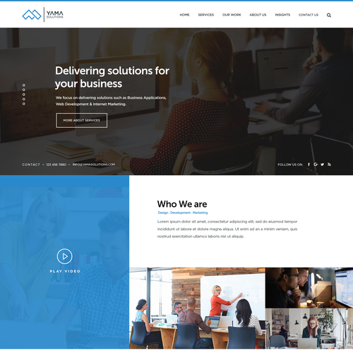 Startup website with the title 'website design for web consulting startup'