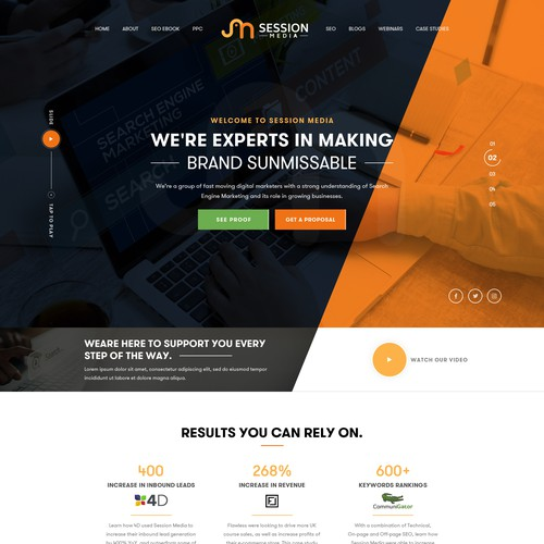 Search engine design with the title 'Session Media'