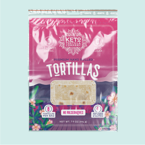 Vibrant packaging with the title 'Modern, High Quality Packaging Design for Keto Tortilla Company'