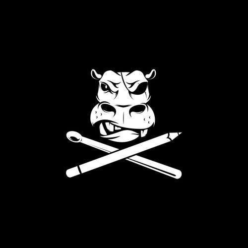 "Hippo logo with the title 'Badass boat flag design ""Aarrr matey""'"