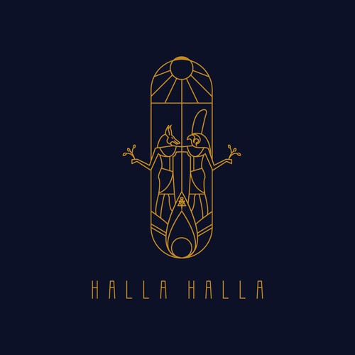 Middle East design with the title 'Logo design for Halla Halla eatery'
