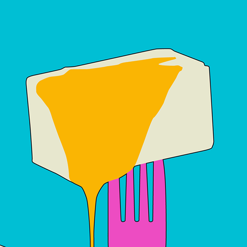Yellow and purple design with the title 'Fork and Butter POP! Pattern Design'