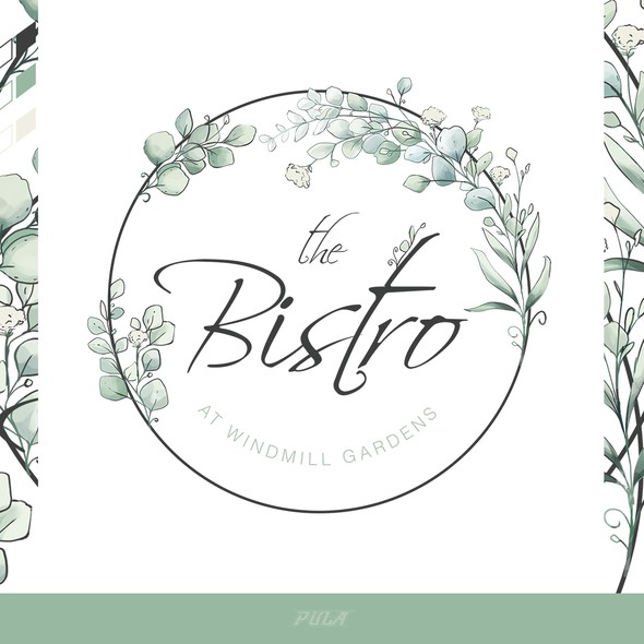 """Digital art logo with the title 'Watercolor-painting for a contemporary restaurant """"The Bistro""""'"""