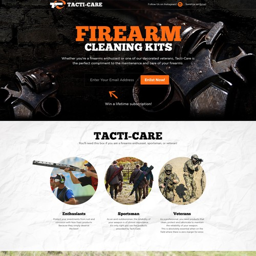 Veteran design with the title 'Firearm Cleaning Kits!'