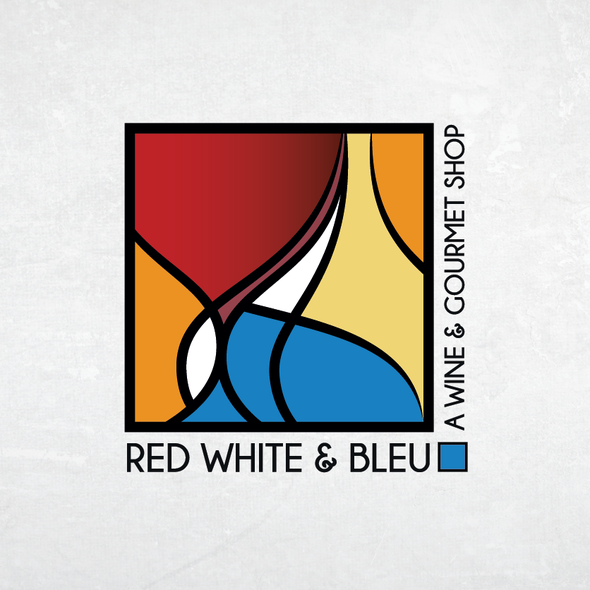Red wine logo with the title 'Red White & Bleu - Wine shop'